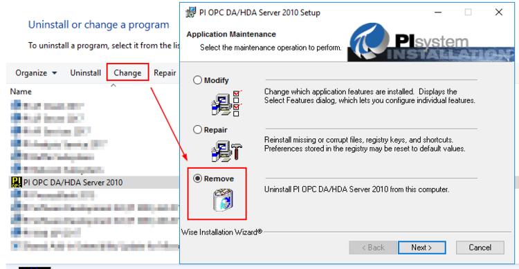 KB01616 - PI OPC Server 2010 not fully uninstalled using