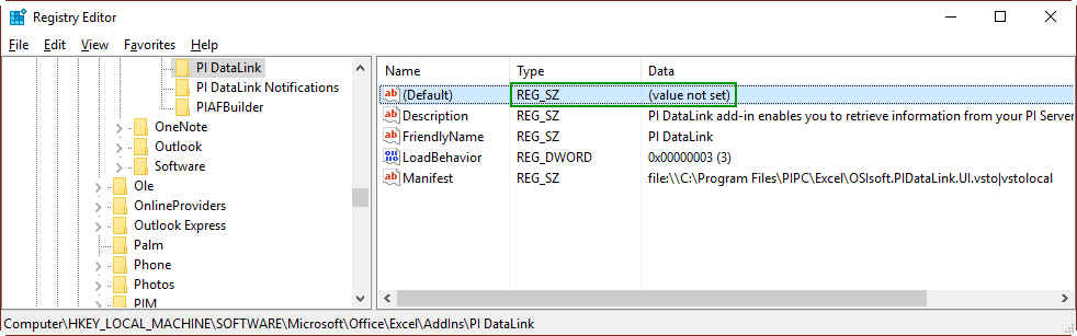 KB00265 - PI DataLink Ribbon does not appear in Excel
